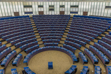 Strasbourg, France, September 22, 2020: Hemicycle assembly hall of the European parliament building in Strasbourg, France