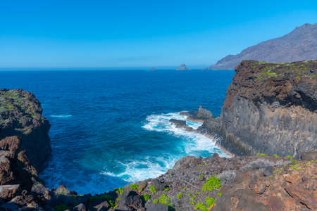 Landscape of El Hierro island viewed from a costal path connecting La Maceta and Punta Grande, Canary islands, Spain. Banque d'images