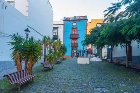 Beautiful traditional houses on the main street in the center of Santa Cruz de la Palma, Canary islands, Spain.