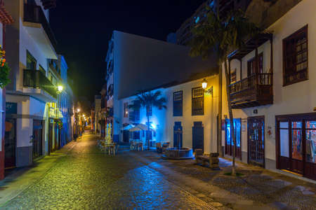 Night view of beautiful traditional houses on the main street in the center of Santa Cruz de la Palma, Canary islands, Spain.