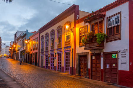 Sunrise view of beautiful traditional houses on the main street in the center of Santa Cruz de la Palma, Canary islands, Spain.