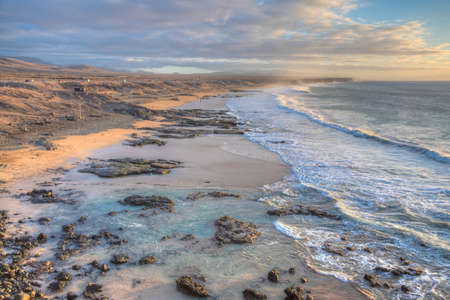 Coastline with beaches extending from El Cotillo village at Fuerteventura, Canary islands, Spain.