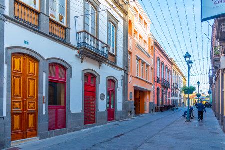 Arucas, Spain, Janury 18, 2021: Main street at Arucas at Gran Canaria, Canary islands, Spain. Editorial