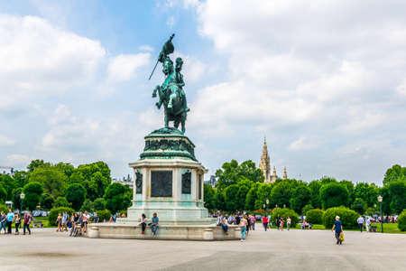 VIENNA, AUSTRIA, JUNE 2016: people are walking in front of the Archduke Charles (Erzherzog Karl) monument in Vienna, Austria