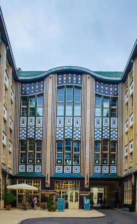 BERLIN, GERMANY, MARCH 12, 2015: complex of nine courtyards hidden among tall buildings was transformed into tranquil zone with shops, restaurants and cinema. it is called Hackesche Hofe.