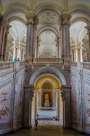 CASERTA, ITALY - JUNE 1: View over interior of Palazzo Reale in Caserta on June 1, 2014. It was the largest palace erected in Europe during the 18th century. Publikacyjne