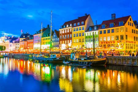 COPENHAGEN, DENMARK, AUGUST 20, 2016: Night view of the old Nyhavn port in the central Copenhagen, Denmark.