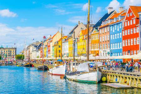 COPENHAGEN, DENMARK, AUGUST 21, 2016: View of old Nyhavn port in the central Copenhagen, Denmark.