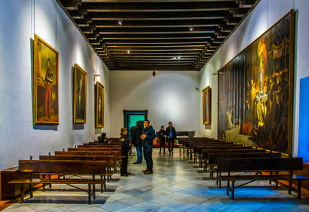 SEVILLA, SPAIN, JANUARY 7, 2016: view of a representation hall situated inside of the real alcazar palace in the spanish city sevilla. 新闻类图片