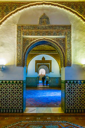 SEVILLA, SPAIN, JANUARY 7, 2016: Detail of a beautifully entrance into a room of the real alcazar palace in the spanish city sevilla.
