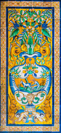 SEVILLA, SPAIN, JANUARY 7, 2016: detail of a mosaic made of azulejos - tiles for which is andalusia region in spain famous, situated inside of the real alcazar palace in the spanish city sevilla.