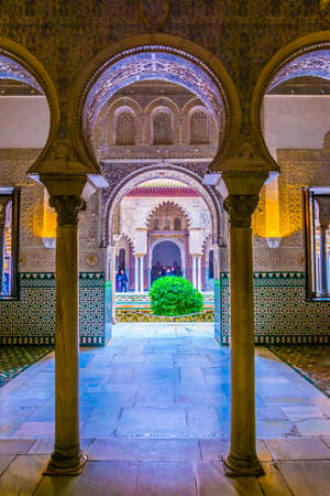 SEVILLA, SPAIN, JANUARY 7, 2016: Detail of a beautifully entrance into a room of the real alcazar palace in the spanish city sevilla.