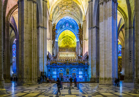 SEVILLA, SPAIN, JANUARY 7, 2016: view of interior of the cathedral in sevilla, which is considered to be the third biggest cathedral in the world