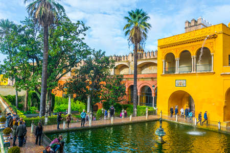 SEVILLA, SPAIN, JANUARY 7, 2016: view of a fountain situated in gardens of the real alcazar palace in the spanish city sevilla.
