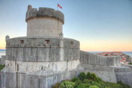 Sunrise view of fortification of Croatian town Dubrovnik