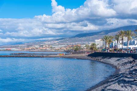 Seaside promenade at Playa de las Americas, Tenerife, Canary Islands, Spain.