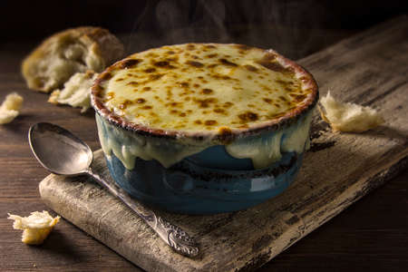 bubbly: A steaming crock of bubbly French onion soup