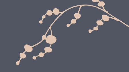 Thumbnail background with hand-drawn leaves in dark gray and beige colors