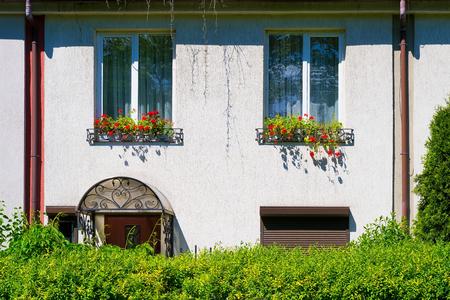 windowsill: House wall with windows and flowers on the windowsill