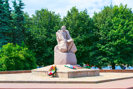 marshal: KALININGRAD, RUSSIA - JULY 29, 2015: the Monument to Marshal A. M. Vasilevsky in Kaliningrad on the square its name