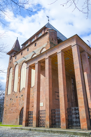 immanuel: KALININGRAD, RUSSIA - MARCH 30, 2017:  grave of German philosopher Immanuel Kant in the Cathedral of Koenigsberg Editorial