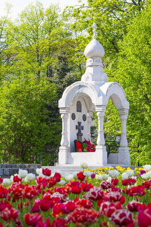 clearly: KALININGRAD,RUSSIA - MAY 15, 2017: the Chapel in memory of soldiers who died during the East Prussian operation