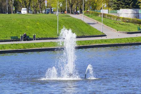 KALININGRAD, RUSSIA - MAY 2, 2017: the fountain on the Bottom lake in Kaliningrad. View from the Promenade Marinesco Editorial