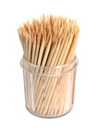 toothpick: Toothpicks in a box on a white background