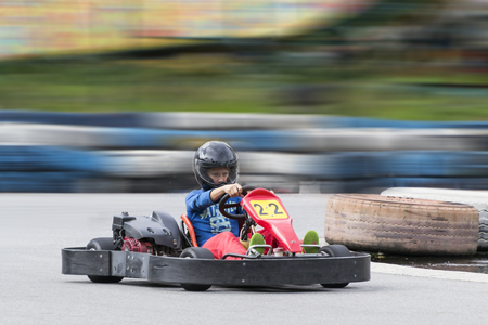 KALININGRAD, RUSSIA - JULY 16, 2016: in the Park Youth opened a school of karting. Kart driver on the track Stock Photo