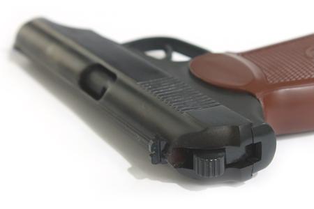 Soviet 9mm PM (Makarov) gun isolated on white background