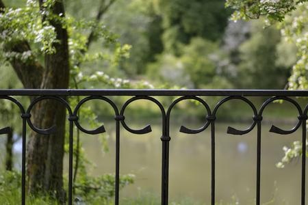 Iron fence close up in Kaliningrad Stock Photo