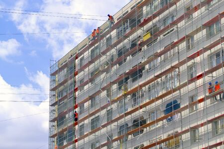 steeplejack: Decoration of the facade of a residential building in Kaliningrad
