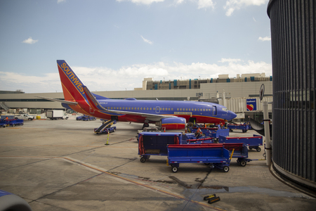 USA, FLORIDA, CIRCA 2017: BALTIMORE, USA - MARCH 19, 2017: A Southwest Airlines airplane waiting to be loaded and waiting for passengers in the airport.