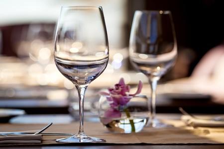 fine: Empty glasses in restaurant
