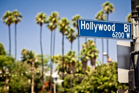 Hollywood boulevard sign, with palm trees in the background