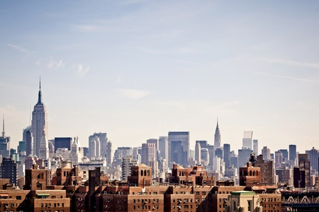 new: New York city skyline taken from Brooklyn bridge