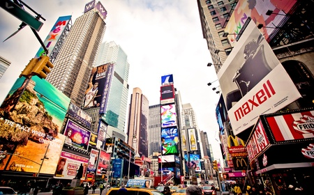 time square: Manhattan, New York City, USA - January 7 2011: Times Square, featured with Broadway Theaters and animated LED signs, is a symbol of New York City and the United States