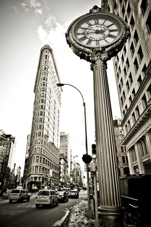 central square: Retro stylisation of  flatiron building in NYC Editorial