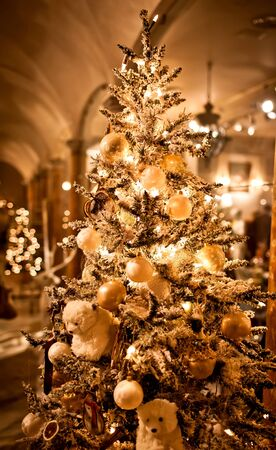 Christmas tree with ornaments photo