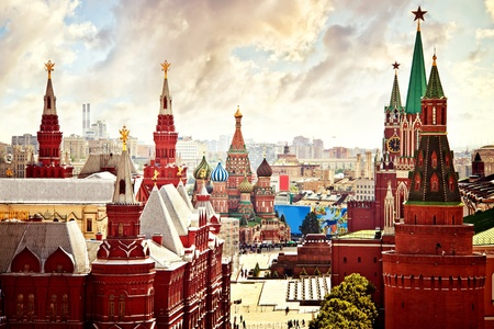 red square moscow: Aerial Kremlin view