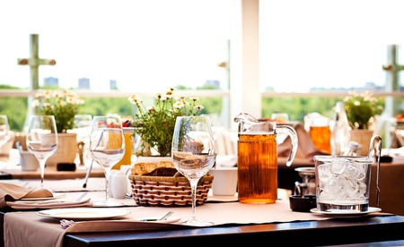 Served table at summer cafe photo