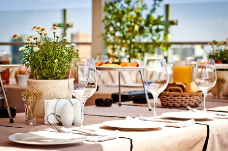 outdoor restaurant: Served table at summer cafe Stock Photo