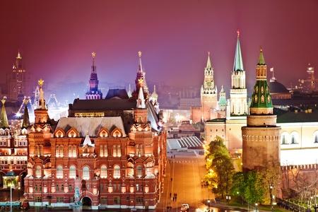 Red Square and Kremlin at night photo