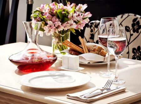 fancy: Fine restaurant dinner table place setting Stock Photo
