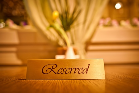private party: Reserved sign