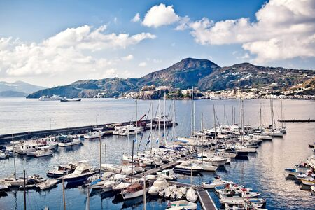 lipari: Yacht marina in Lipari, Italy Stock Photo