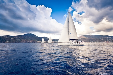 sailing ship: Sailing ship yachts with white sails Stock Photo