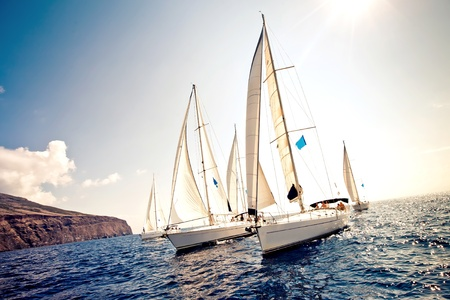 yacht race: Sailing ship yachts with white sails Stock Photo