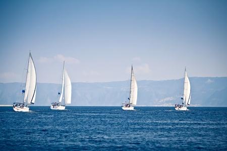 regatta: Sailing ship yachts with white sails Stock Photo
