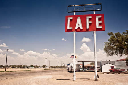 street cafe: Cafe sign along historic Route 66 in Texas.